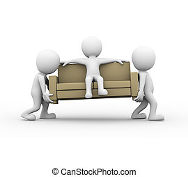 3d people carrying a sofa with man - 3d rendering of people...