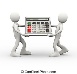 3d people carrying calculator