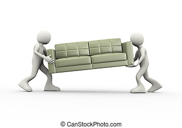 3d people carrying couch
