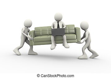 3d people carrying couch and man with laptop