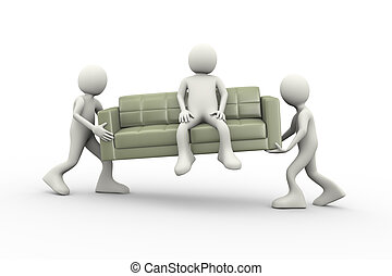 3d people carrying man seated on couch