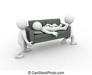 3d people carrying sleeping man on sofa