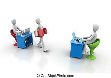 3d people carrying the file folder in office