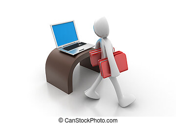3d people carrying the file folder with computer