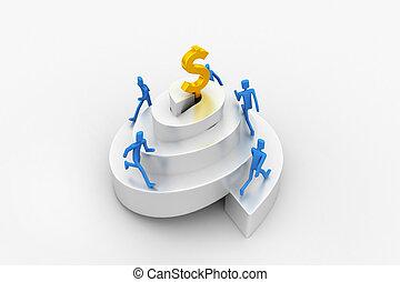3d people climbing a spiral tower