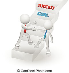 3D people climbing stairs to success logo