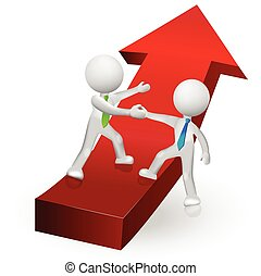 3D people climbing to success in a red arrow logo vector