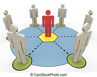 3d people communication - 3d render of connected people ...
