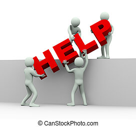 3d people - concept of help and support