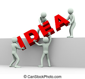 3d people - concept of idea - 3d illustration of men working...