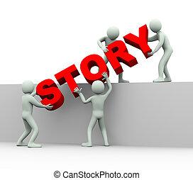 3d people - concept of story - 3d illustration of men...