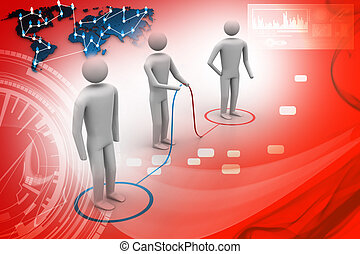 3d people connecting
