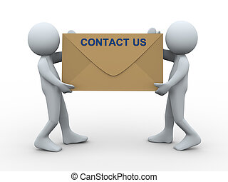 3d people contact us envelope - 3d illustration of men ...