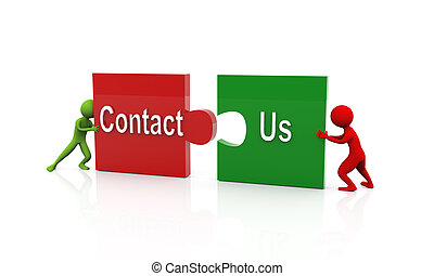 3d people contact us puzzle pieces