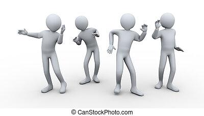 3d people dancing - 3d illustration of men dancing in the...