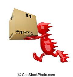 3D people delivering cardboard box