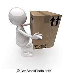 3D People Delivers Cardboard Box