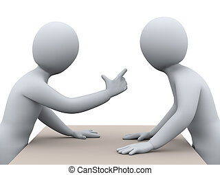 3d illustration of man pointing finger and yelling at another person. 3d rendering of people - human character.