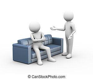 3d people dispute argument - 3d illustration of man sitting...