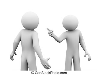 3d rendering of angry man pointing finger to his opponent. 3d white people man character.