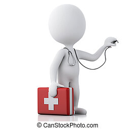 3d people doctor with a stethoscope and first aid kit