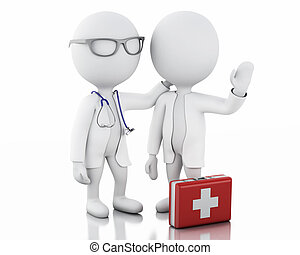 3d people doctors with a stethoscope and first aid kit.