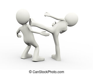 3d people fighting