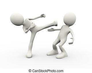 3d people fighting kingfu - 3d illustration of man kicking...