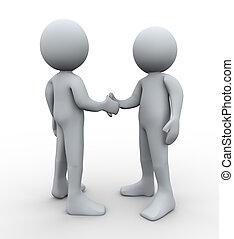 3d people handshake