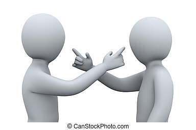 3d illustration of men pointing at each other. 3d rendering of human character.