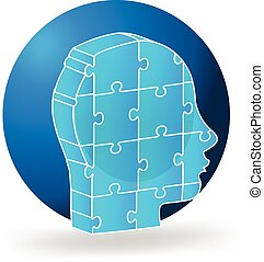 3d people head blue puzzle logo