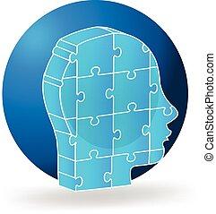 3d people head blue puzzle logo