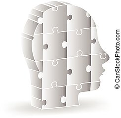 3d people head puzzle logo