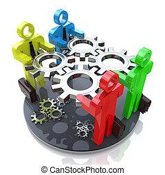 3D people hold gears mechanism in hands