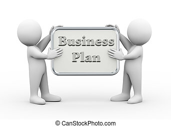 3d people holding board business plan