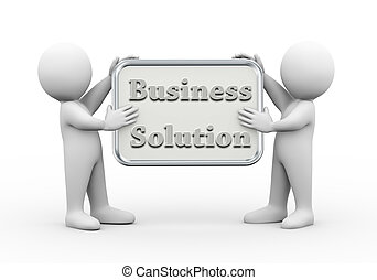 3d people holding board business solution