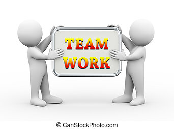 3d people holding board team work