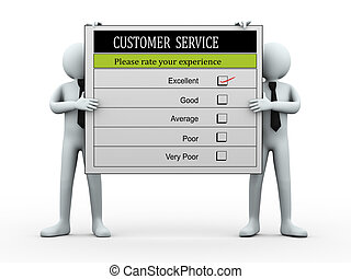 3d people holding customer service evaluation form