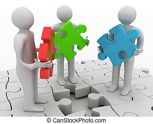3d people holding different puzzle pieces standing on puzzle with missing piece