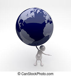3D People Holding Earth Globe in Hand