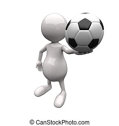 3D People Holding Football in Hand