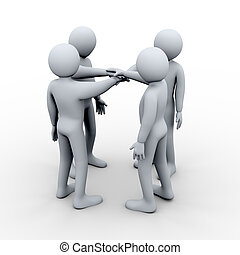 3d people holding hands together