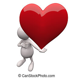 3D People Holding Heart in Hand