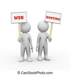 3d people holding sign board banner web hosting