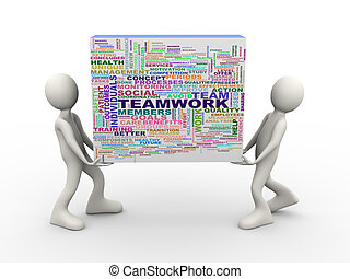 Illustration of people holding teamwork wordcloud word tags. 3d human person character and white people