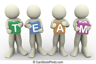 3d people holding word team
