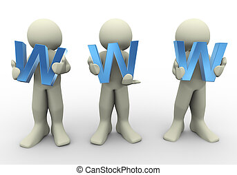 3d people holding www