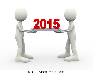 3d people holding year 2015