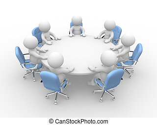 Business meeting - 3d people - human character at a round ...