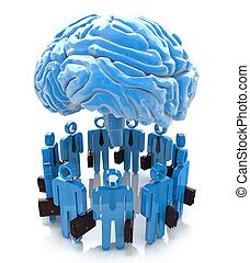 3d people- human character end blue brain. Forum Mind